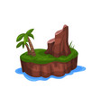 tropical island in the ocean with palm tree and vector image