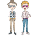 two hipster guys in a hat glasses and bow tie vector image vector image