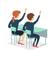 Two Pupil Sitting at a School Desk vector image vector image