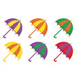 umbrellas icon set flat or cartoon style beach vector image vector image