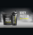 whey protein advertising banner template 3d vector image