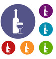 wine bottle and glass icons set vector image vector image