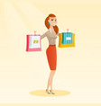 young caucasian woman holding shopping bags vector image vector image