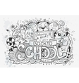 Cartoon hand drawn doodles on a school vector image