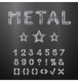 Metallic alphabet Set of stainless 3d numbers vector image