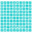 100 landscape element icons set grunge blue vector image vector image