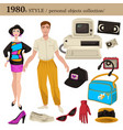1980 fashion style man and woman personal objects vector image