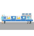 automation belt machine in smart factory vector image vector image