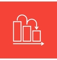Bar chart down line icon vector image vector image