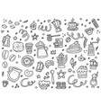 black and white coffee objects vector image vector image
