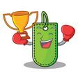 boxing winner price tag mascot cartoon vector image