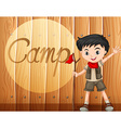 Boy in camping costume with walking stick vector image vector image