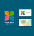 business card template with trendy colorful logo vector image vector image