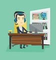 business man with headset working at office vector image vector image