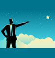businessman pointing a star vector image vector image