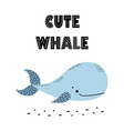 card with whale in scandinavian style vector image