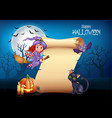 cartoon little witch flying on a broomstick with h vector image vector image