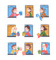 cheerful kids looking out windows set boys vector image vector image