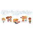 children interact on social networks vector image vector image