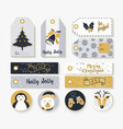 christmas set of vintage animal labels and tags vector image