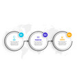 circular timeline three steps infographics vector image vector image