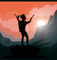 colorful sunset landscape of climber woman vector image vector image