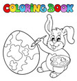 coloring book with bunny artist vector image vector image