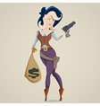 cowgirl with gun funny cartoon character vector image