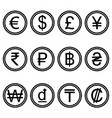 currency symbols icons simple black and white set vector image