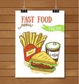 Fast food menu - Fast food poster vector image vector image