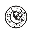flat icon in black and white style moon and stars vector image vector image