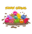 funny germs cartoon bacteria splash in mud vector image