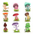 funny mushrooms set colorful mashroom characters vector image