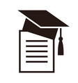 graduation cap and diplom education symbol vector image vector image