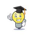 graduation light bulb character cartoon vector image vector image