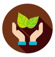 Hands Save the Planet Leaves Circle Icon vector image vector image