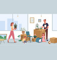 happy family relocate moving to new house or home vector image vector image