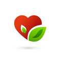Heart and leaves symbol logo icon vector image vector image