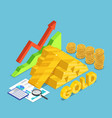 isometric gold bar with rising stock market graph vector image