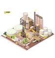 isometric oil refinery plant vector image