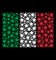 italy flag mosaic of fireworks star icons vector image vector image