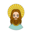 jesuschrist with halo character religious icon vector image vector image