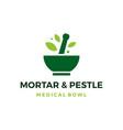 medical bowl mortar pestle logo icon vector image