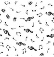 musical notes and treble clef seamless pattern vector image
