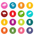 package types icons set colorful circles vector image