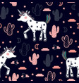 pattern with cute unicorns stars cacti vector image