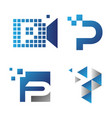 pixel letter p vector image