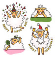 set of funny sheep with different emotions vector image