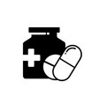 silhouette style pills and bottle icon isolated vector image