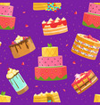 sweet desserts seamless pattern birthday party vector image vector image